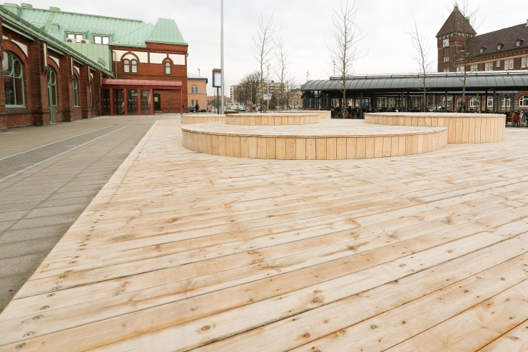 OrganoWood decking at a train station